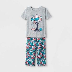 NWT Toddler Girls Cat Tree Pajama Set